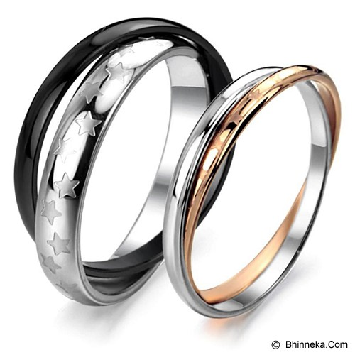 TITANIUM RING Cincin Couple Size 7(F) & 8(M) [GS230] - Silver and Gold & Silver and Black - Cincin